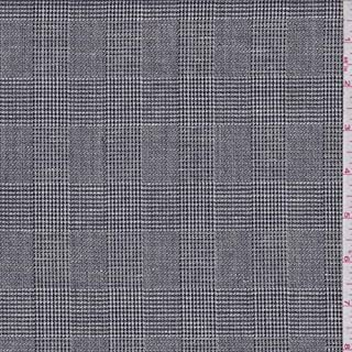 Charcoal Glen Plaid Wool Blend Suiting, Fabric by The Yard