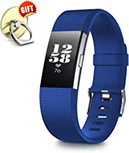 IYOU Compatible for Fitbit Charge 2 Replacement Bands, Classic Edition Adjustable Silicone Sport Wristbands Fitbit Charge 2 Bands for Women and Men, with【Gift】 1X Cell Phone Finger Ring Holder Stand
