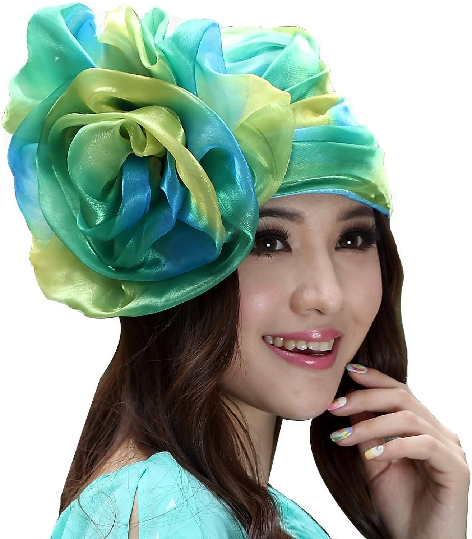 June's Young Women Hat Bucket Hats Big Flower Summer Dress Hat Green yellow