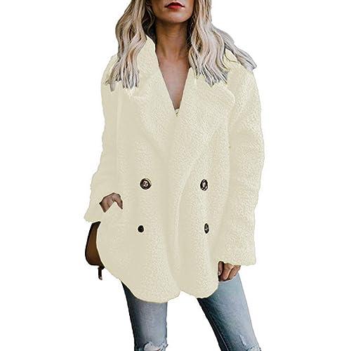 88a978533d Famulily Women's Winter Warm Open Front Fleece Fluffy Jacket Coat Outwear  with Pockets