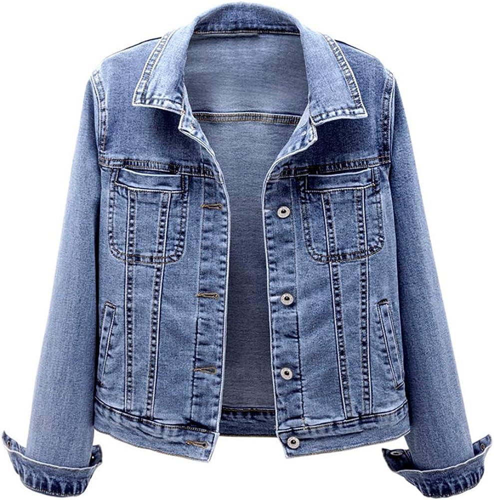 Kedera Women's Blue Washed Denim Jacket Long Sleeve Classic Loose Jean Trucker Jacket