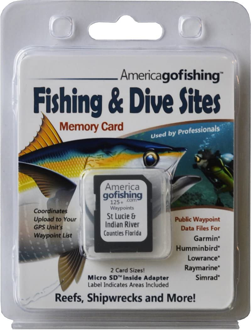 America Go Fishing - Fishing and Dive Sites Memory Card - St Lucie and Indian River Counties Florida
