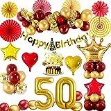 50 Decoraciones Cumpleaños para Mujeres, Globos Cumpleaños de Oro Rojo Metálico con Globo Número 50, Pancarta de Feliz Cumpleaños, Globos de Papel Confeti para Fiesta Cumpleaños Mujeres 50 Años