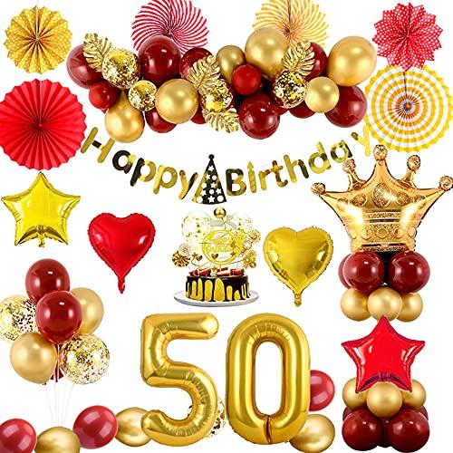 Compleanno Decorazioni 50 Anni Donna, Kit Palloncino Compleanno Oro Rosso con Palloncino Numero 50, Striscioni di Buon Compleanno, Palloncini in Alluminio con Coriandoli per Compleanno Festa 50 Anni