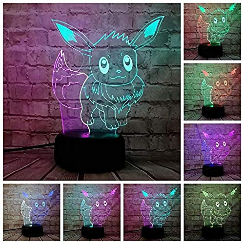 3D-Nachtverlichting Led-Tafellamp Cartoon Pokemon Touch Toy Action Light 7 Colorful Change Kids Birthday Christmas Gift