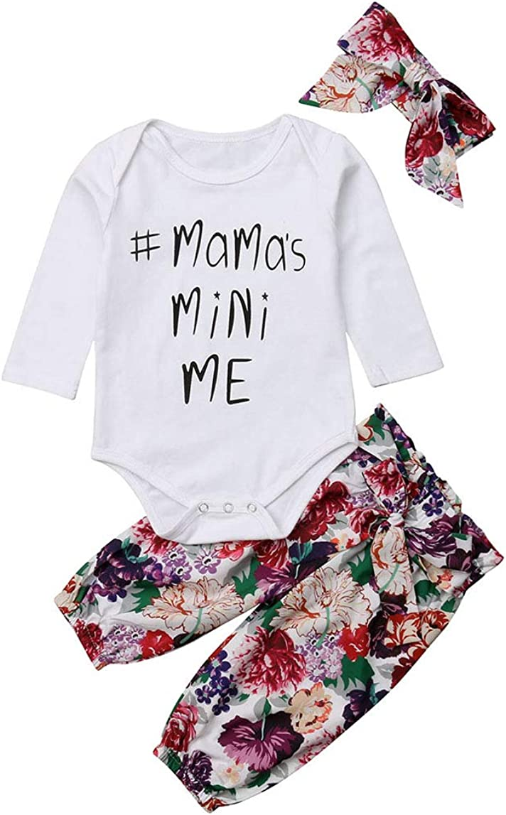 3Pcs Seattle Mall 1 year warranty Newborn Infant Baby Girl Mama's Me Long Sleeve Romper Mini