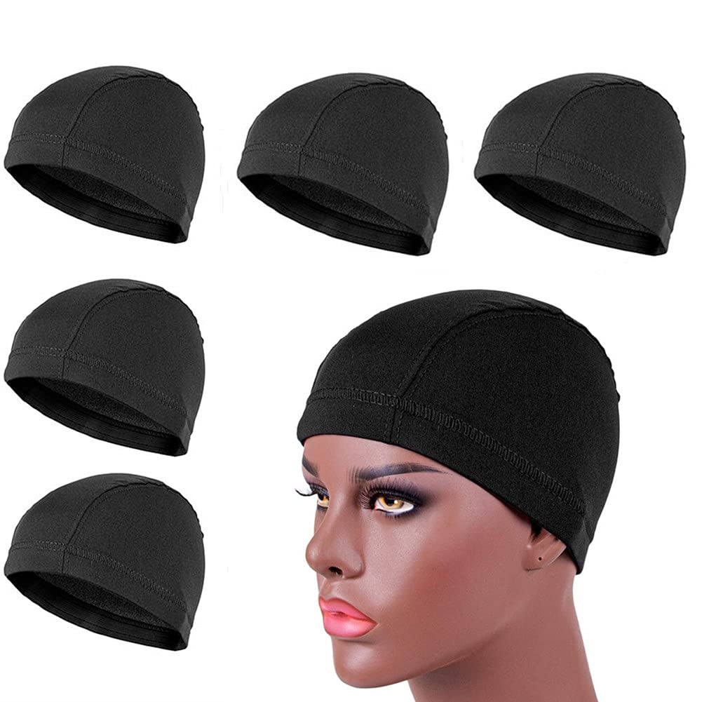 Recommended Leeons 5 PCS Max 70% OFF Spandex Dome Style Stretch Black Cap Dom Ultra Wig