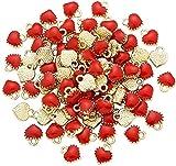 Cheriswelry 100 colgantes de aleación con forma de corazón rojo esmaltado, chapados en oro, para hacer joyas, pulseras, collares, pendientes, regalos de San Valentín, accesorios