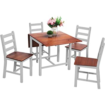 Kitchen Drop Leaf Folding Dining Table And 4 Chairs Set Extendable Solid Pine Wood Home Furniture Grey Amazon Co Uk Kitchen Home