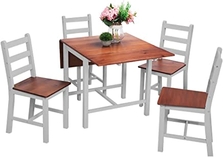 1ea3967dcad0 Beshomethings Kitchen Drop Leaf Folding Dining Table and 4 Chairs Set,Extendable  Solid Pine Wood