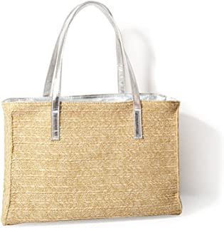 Holiday Beach Straw Faux Leather Handle Tote Womens Shoulder Handbag