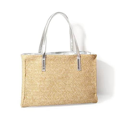 Hoxis Holiday Beach Straw Faux Leather Handle Tote Womens Shoulder Handbag