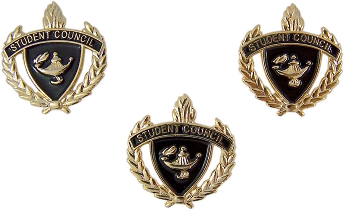 Gold Toned and Enamel Student Council Scholastic School Achievement Award Lapel Pin, Pack of 3