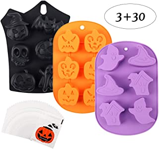 BAKHUK 3pcs Halloween Silicone Baking Molds, Bat, Ghost, Pumpkin, Skull, Haunted House, Wizard Hat, with 30 Pumpkin Gift Bags, Suitable for Making Muffins, Puddings, Chocolates, Cakes