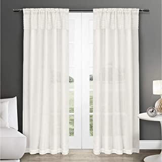 Exclusive Home Curtains EKO Linen Sheer Rod Pocket Window Curtain Panel Pair, Off-White, 50x84
