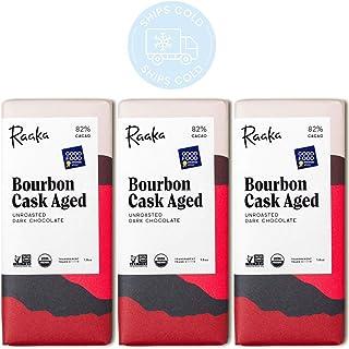 Raaka Chocolate Bourbon Cask Aged Dark Chocolate 82% Cacao (1.8oz Bar - 3 Pack), Organic, Non-GMO, Kosher Premium Craft Ch...