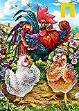 Ölgemälde zum Selbermachen, Malen nach Zahlen, Set für Kinder und Erwachsene, Motiv: Drei niedliche Hühner, Bild mit Pinseln, Dekoration, Weihnachten, Geschenkidee, 40,6x 50,8cm Ohne Rahmen