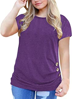 Gognia Women's Plus Size Casual Short Sleeve Tunic Tops T Shirt Button Blouse
