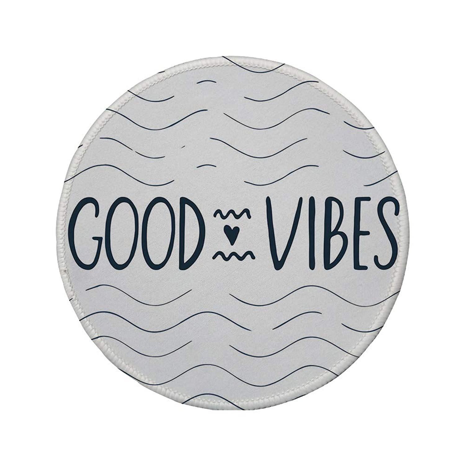 Non-Slip Rubber Round Mouse Pad,Good Vibes,Abstract Sea Inspired Background Waves Modern Typography Cute Heart Shape Decorative,Dark Blue White,7.87
