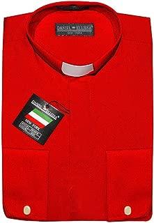 Clergy Dress Shirt French Cuff Tab Collar & Cuff Links (15.5 33/34 - M, Red)