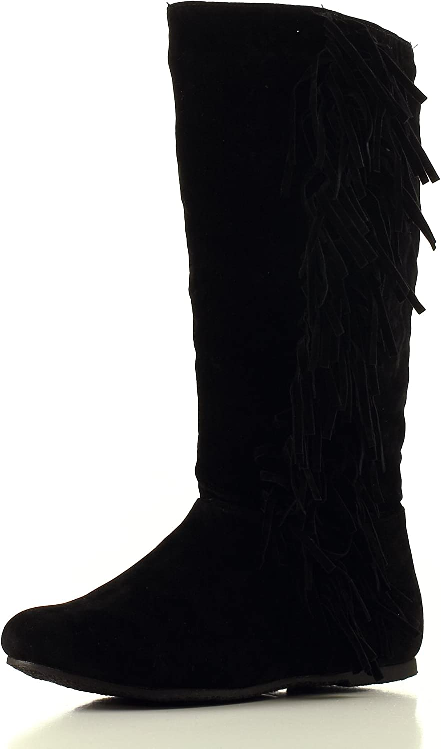 Nvie Designs Womens Suede Senora Boots with Fringe - Black/Grey