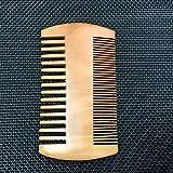 Modis Peine de madera para barba anti estático de madera con dientes finos gruesos para barba, bigotes y pelo, peine de barba