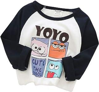 Plus Nao(プラスナオ) Tシャツ カットソー 長袖 トップス キッズ ベビー 男の子 女の子 丸襟 プリント柄 ネズミ アヒル クマ モンスター イ