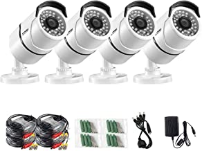 ZOSI 4 Pack 3.6mm lens 1000TVL 960H High Resolution CMOS 36pcs IR LEDs Night Vision 100ft(30m) Waterproof Outdoor Bullet CCTV Camera Surveillance For Security System (white metal housing)