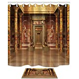 NYMB Egyptians Bath Curtains Decor, Tombs with Egyptian Mural on The Wall in Vintage 69X70in, Polyester Fabric Shower Curtain Suit with 15.7x23.6in Flannel Non-Slip Floor Doormat Bath Rugs