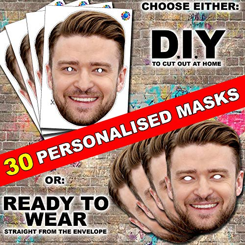 30 x Personalised DIY Custom Photo Face Masks kits for Hen, stag, birthday party etc to make at home