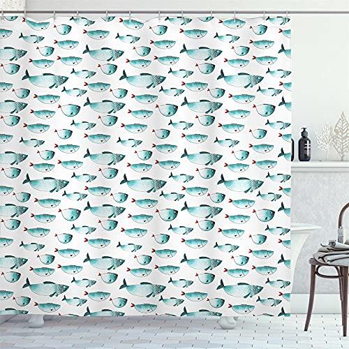 Dibujos animados fondo blanco azul pescado escuela ducha cortina baño cortina decoración impermeable tela