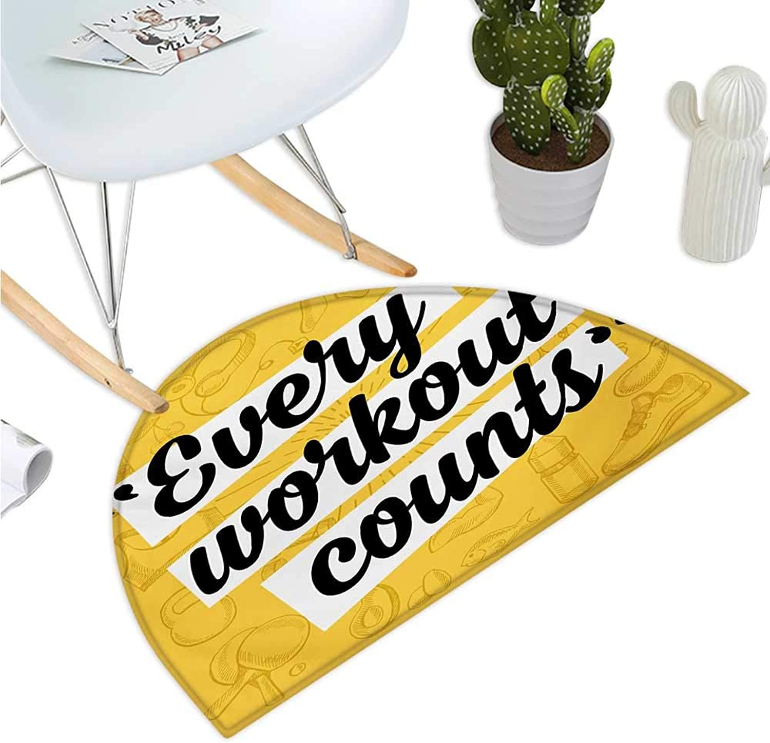 Fitness Half Round Door mats Every Workout Counts Phrase in Quotation Marks Healthy Living Theme Icons Entry Door Mat H 35.4  xD 53.1  Yellow Black White