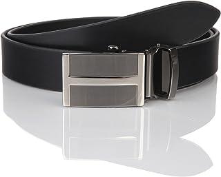 LINDENMANN Mens leather belt/Mens belt, business belt, leather belt curved with autolock buckles, black