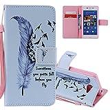 EMAXELERS Sony Xperia M2 Coque Elegant Retro Anime Coloré Fleur PU Cuir Housse Swag Case Cover Coquille Coque avec...