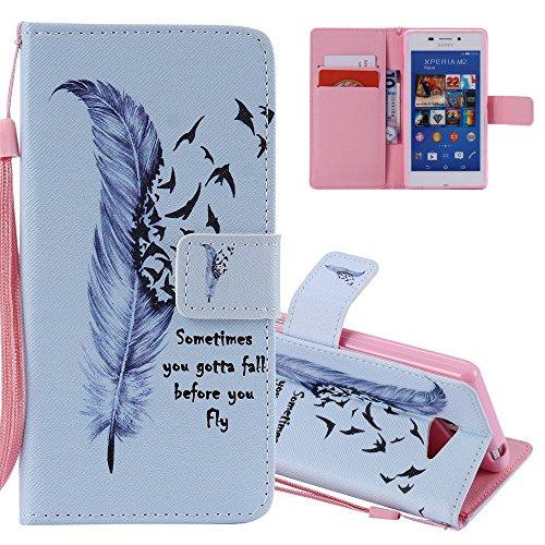 EMAXELERS Sony Xperia M2 Hülle Flip Schale Brieftasche Standfunktion & Karte Halter Etui Kartenfächer Wallet Tasche Etui für Sony Xperia M2,Purple Feather Birds for KATU