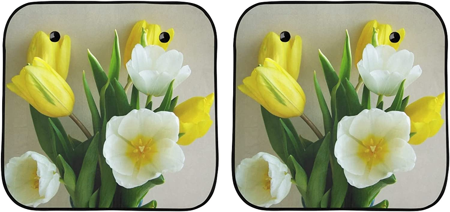 Foldable Sunshade for Car Tulip Bunch Flowers of and Be super Trust welcome Yellow Whit