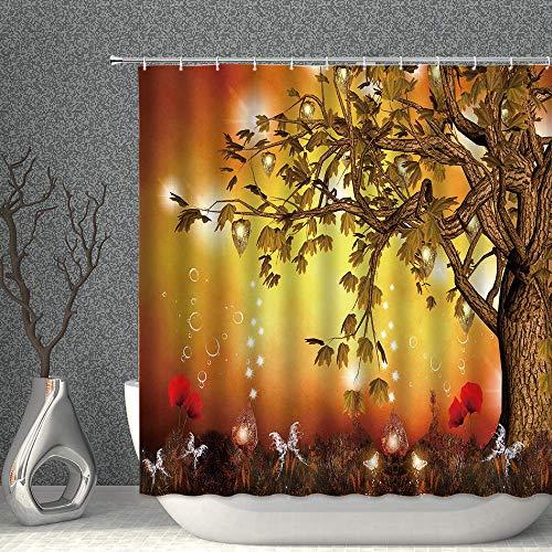 SDHouse Shower Curtains Tier Dusche Vorhang Lustige Giraffe Blasen Blasen Tawny Blue Decor Stoff Polyester Badezimmer Gardinen mit Haken 80x70 Zoll (Color : Wood Honey, Size : 90x70 Inch(230x180cm))