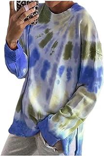 Winwinus Women Tie Dye Print Loose Casual Sweatshirt Oversized Blouse Top
