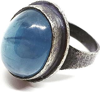 Prezioso anello in argento sterling ossidato con preziosa Acquamarina brasiliana ovale da 12,62 carati (15 mm x 12 mm). An...