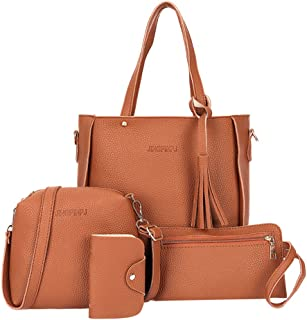 Ccoco Womens Fashion Handbag+Shoulder Bag+Purse+Card Holder 4pcs Set Tote Handbag Cosmetic Bag
