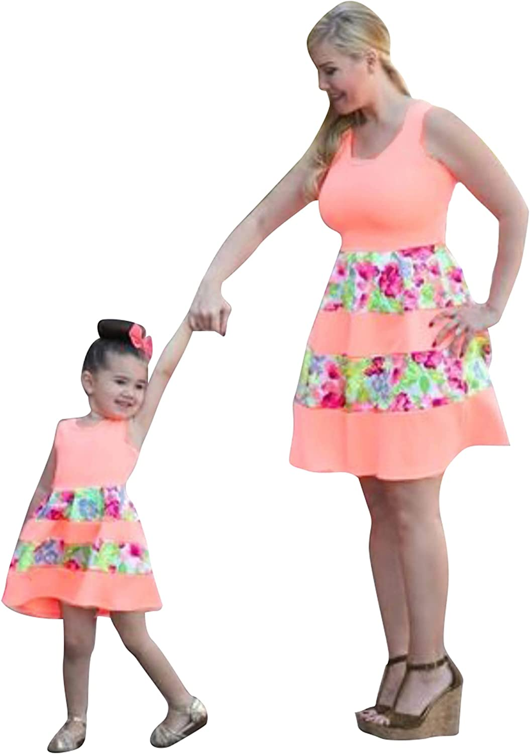 YMING Mother and Daughter Matching Dress Causal Summer Dresses Lace Mini Outfits