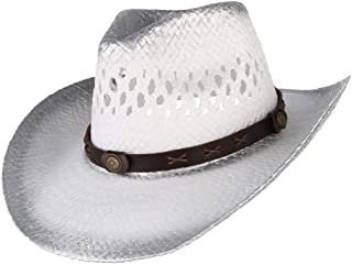 Lady's Sun hat 2019 Men Women White Western Cowboy Hat with Hood Belt Straw Hollow Out Hat Wide Brim Hat Sizing 56-58CM Sun hat (Color : White, Size : 56-58)