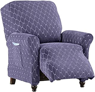Diamond Stretch Stain Resistant Slipcover, Furniture Cover Protector, Grape, Recliner