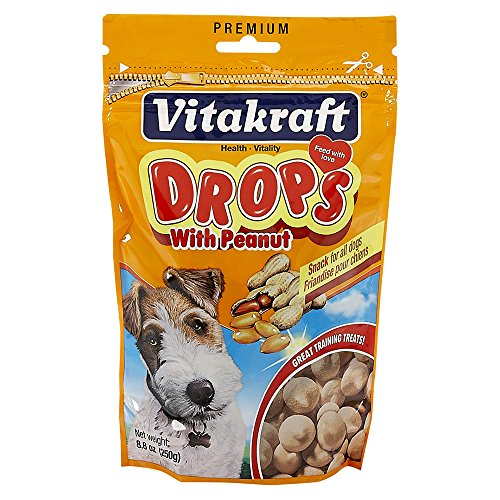 Vitakraft Drops with Peanut Treats for Dogs, Bite-Sized Training Snacks, 8.8 Ounce Pouch