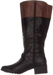 Style & Co. Womens Venesa Closed Toe Knee High Riding, Black/Brown, Size 8.5