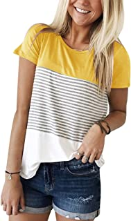 0c96cd821483f Best Seller in Women s Knits   Tees · YunJey Short Sleeve and Long Sleeve  Round Neck Triple Color Block Stripe T-Shirt Casual