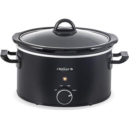 IKOHS SLOWPOT - Faitout de cuisson électrique pour préparer de multiples recettes, 240 W, 3,5 litres, revêtement antiadhésif céramique récipient, 3 modes, programmable, minuteur (3,5 l)