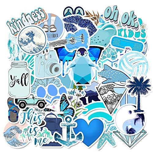MasiBloom® Gepersonaliseerde Stickers 50 PCS Vinyl Bagage Waterdichte Trendy Decal voor koffer Waterfles Skateboard Motorfiets Fiets Gitaar Koelkast Boek Volwassenen Meisjes Jongens, 50 PCS, Blauw