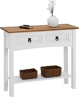 IDIMEX Table Console Campo Table d'appoint rectangulaire en pin Massif Blanc et Brun avec 2 tiroirs et 1 étagère, Meuble ...