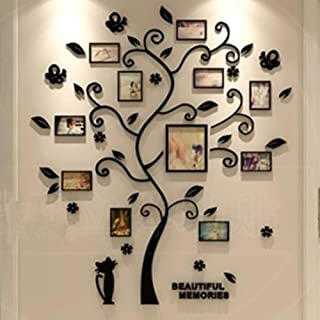 LUHSICE Large 3D Acrylic Wall Stickers Photo Frames Family Tree Wall Deca (Black Leaves with Cat 61.5